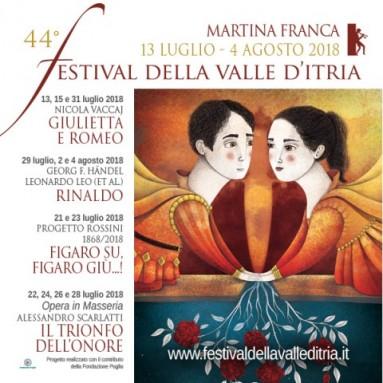 """FESTIVAL DELLA VALLE D'ITRIA - 44ª edizione """"Eclissi d'amore"""", Martina Franca, dal 13 luglio al 4 agosto 2018"""