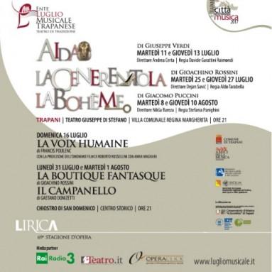 Continua la campagna abbonamenti della 69ª Stagione d'Opera dell'Ente Luglio Musicale Trapanese – Teatro di Tradizione