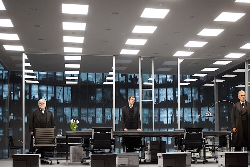 Simon Russell Beale, Adam Godley and Ben Miles in The Lehman Trilogy at the National Theatre. Photo by Mark Douet